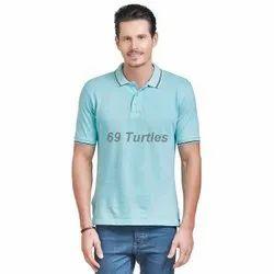 Collar Cotton Men Half Sleeve Casual T Shirt