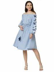 Full Sleeve Blue Ladies Designer Cotton Party Wear Kurti, Wash Care: Machine wash