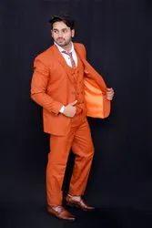 Cotton Rayon Plain Men Burnt Sienna Slim Fit 3 Piece Suit, Size: S,M and L