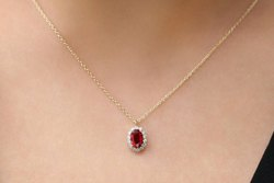 Pramukhimpex 14k Gold Oval Cut Ruby Halo Diamond Necklace