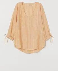 3/4Th Sleeves Surplus Ladies V Neck Casual Top