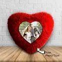 Red Double Side Heart Shape Fur Cushion