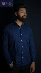 Junglee Formal Wear Mens Navy Blue Plain Cotton Shirt