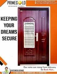 Brown Wooden Finish PGMS1 Designer Steel Door, For Commercial, Thickness: 70mm