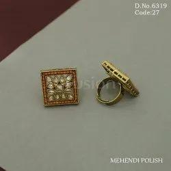 Mehendi Polish American Diamond Finger Ring