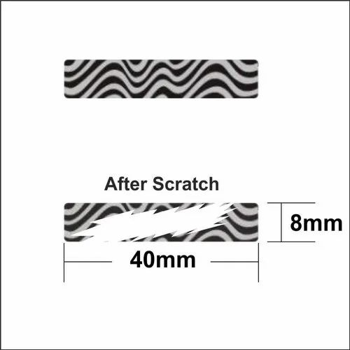 Black Paper 40x8 mm Zebra Scratch Label, For Garments, Packaging Type: Roll