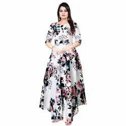 Gown White Jaipuri Printed Ladies Rayon One Piece Dress, Size: Free Size