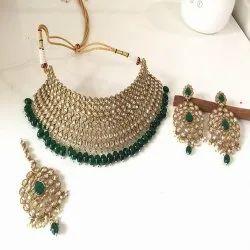 Golden,Green Polki Antique Gold Mehndi Polish Necklace Set