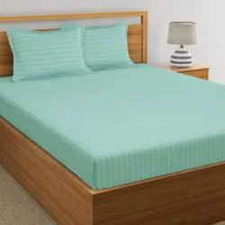 Sea Blue Satin Stripe Dyed Double Bed Sheet