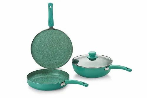 4 Pieces Aluminium Nirlon Induction Galaxy Green Cookware Set, For Kitchen, Size: 2.6 L