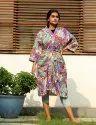 Paisley Print Short Kimono Robe