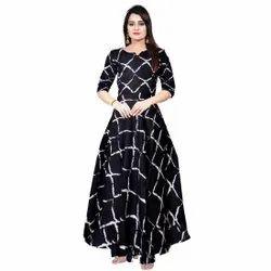 Printed Art Casual Wear 3/4th Sleeve A Line Rayon Black Dress