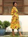 Bird Print Short Kimono Robe