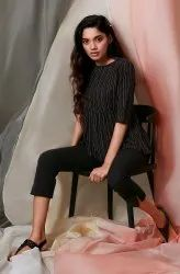 Janasya Women''s Black Weaved Cotton Top(J0120)
