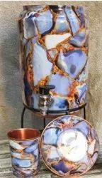 Copper meena printed matka with stand and glass, Capacity: 5 Litre