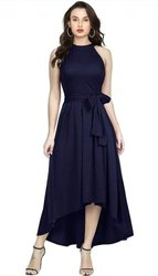 Plain Black Navy Blue Halter Neck One Piece Dress, Size: Small