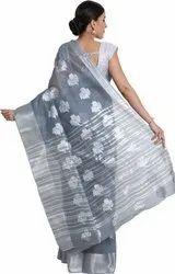 Leeza Store Party Wear Self Design Woven Fashion Tussar Silk Saree, 5.5 m (separate blouse piece)