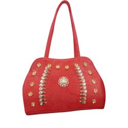 Regular Plain Red Designer Ladies Side Purse, For Casual Wear, Size: Medium