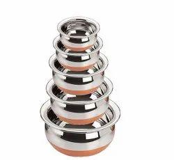 Round 5 Piece Kitchen Copper Steel Handii Set
