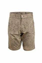 Lite Khaki Printed Designer Shorts