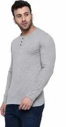 Self Design Men Round Neck Grey T-Shirt