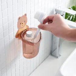 Plastic Assorted Cartoon Bear Self-Adhesive Toothbrush Holder (Random), Size: Medium, Number Of Holder: 1