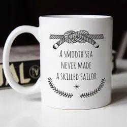 White Mug Ceramic Printed Coffee Mugs