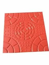 Red Color Coated Concrete Checker Tiles, Thickness: 20 mm, Size: 1X2 ft
