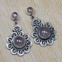 925 Sterling Silver Natural Rose Quartz Gemstone Designer Stud Earring SJWES-5