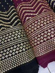 Georgette Gota Embroidered Fabric-Faux
