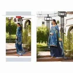 Vishwam French Crepe Fancy Designer Print Suits With Embroidery And Stone Work