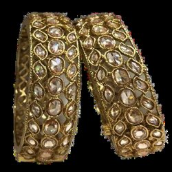 Traditional Golden Metalic Bangles, Size: 2.8 Inch (dia)