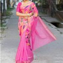Party Wear Pink Jamdani Silk Saree, 5.5 M (separate Blouse Piece)