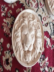 Wood Carved Lion Head Onlay and Applique, Animal Round Rosette, Decorative Wall Decor