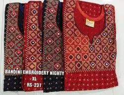 Embroidery Ladies Embroidered Nighty, Size: Extra Large