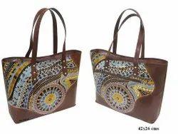 Women DEEP BROWN Leather Fashion Bag, Size: 42x26 Cms