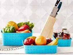 Rectangular Multipurpose Plastic Baskets, For Storage, Design/pattern: Unique