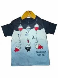 Cotton Casual Wear Kids Printed Round Neck T Shirt, Size: 2to8years