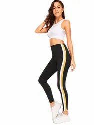 Black Striped Ladies Cotton Lycra Leggings, Size: 26 To 34 Inch