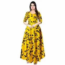 Rayon Printed Designer Wedding Gown, Size: Free Size