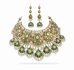 Wedding Wear Antique Gold Mughal Neckalce Set