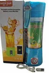 Blue Plastic Juicer Rechargeable Battery Juice Blender, For Home