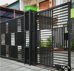 Black Modern Manual Mild Steel Sliding Gate, For Home