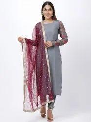 Stitched Ladies Grey Cotton Embroidery Churidar Suit, Machine wash