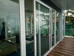 White UPVC Sliding Doors, Glass Thickness: 4 Mm