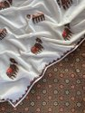 Casual Wear Unstitch Ajarakh Print Suit Pcs With Applique Work Mul Dupatta, Dry Clean