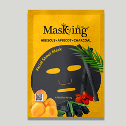 MASKING - HIBISCUS + APRICOT + CHARCOAL FACIAL SHEET MASK
