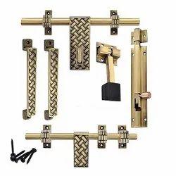 Brass Door Accessories Kit, Size: 32 Cm X 3 Cm X 24 Cm