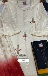 Embroidery Casual Wear Chanderi Suit With Dupatta