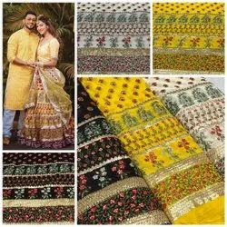 Long Width Georgette Embroidered Fabric-Viscose